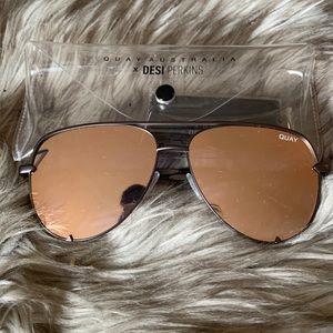 Quay x Desi High Key Rose Gold Sunglasses